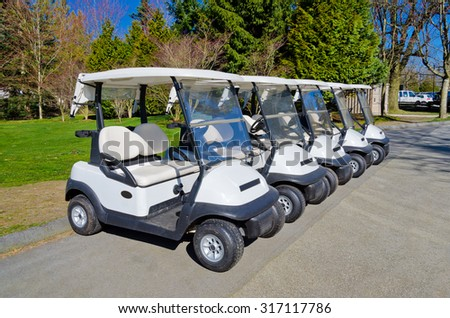 Golf carts at the golf course. Vancouver, Canada.