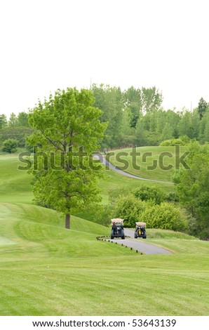 Golf carts on the course
