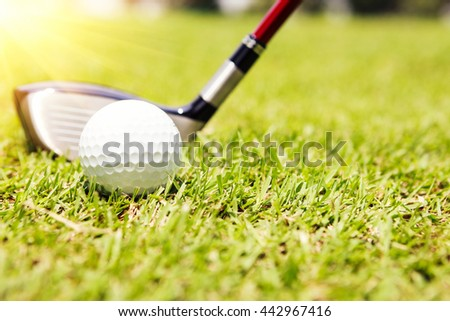 Golf club and ball in grass, Golf ball on tee in front of driver, Close up of golf ball on tee - stock photo