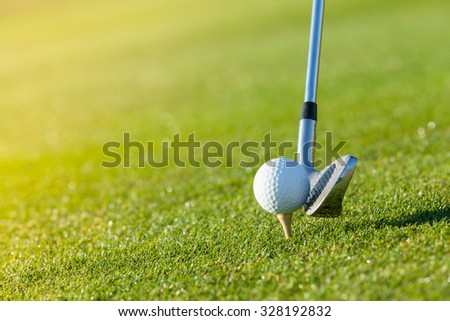 Golf club and ball in grass, low depth of focus - stock photo