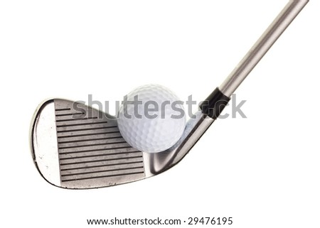 golf club and ball isolated on white background - stock photo