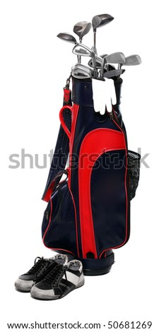 Golf club bag, golfshoe and glove on white background. - stock photo