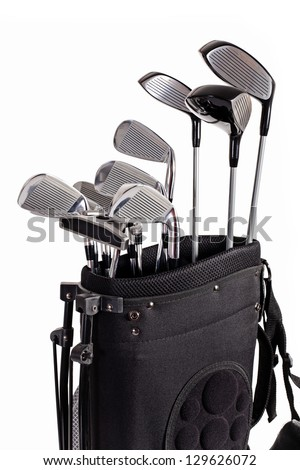 golf club set in carrier bag isolated on white background - stock photo