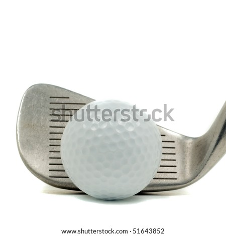Golf club with golf ball isolated over white