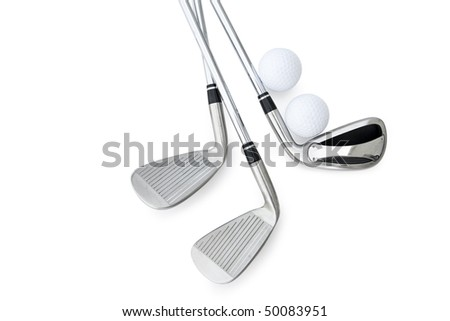Golf Clubs isolated on white - stock photo