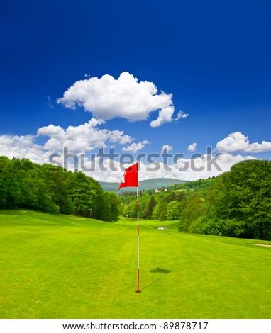 golf course and blue sky. european landscape - stock photo