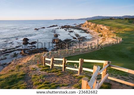 Golf course at Half Moon Bay, California - stock photo