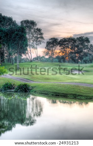 Golf Course At Sunrise - stock photo