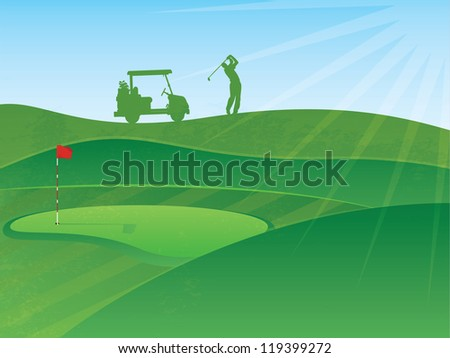 Golf Course Hills Background with a Golfer and Cart in the Distance - stock photo