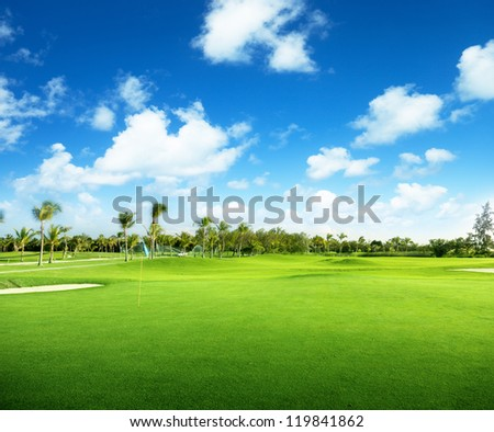 golf course in Dominican republic - stock photo