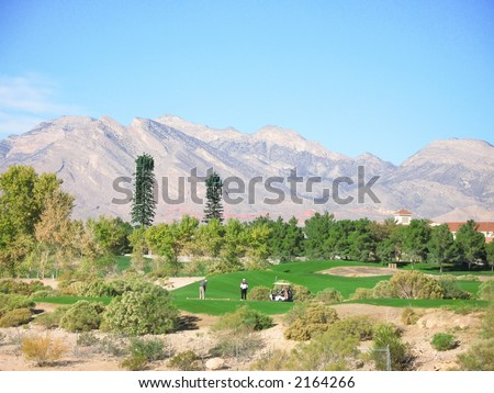 Golf course in the desert southwest - stock photo