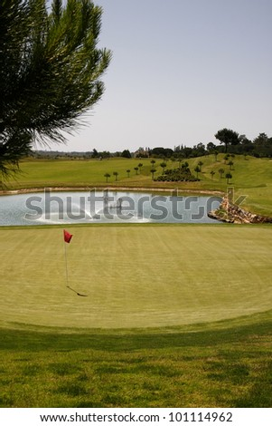Golf course on Algarve, Portugal - stock photo