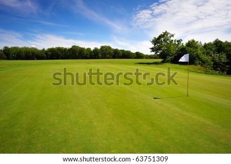 Golf course on Bornholm Island, Europe, Denmark - stock photo