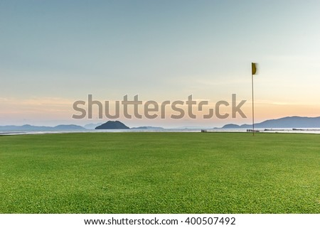 Golf course sea view - stock photo