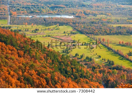 golf course viewed from above in fall nature