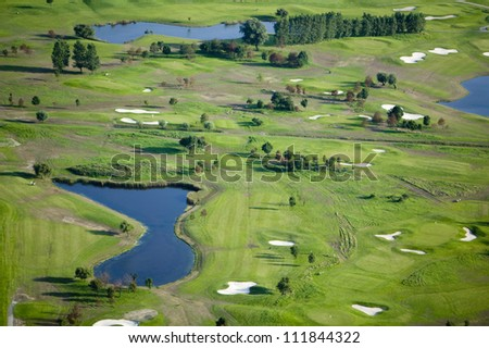 Golf course with ponds
