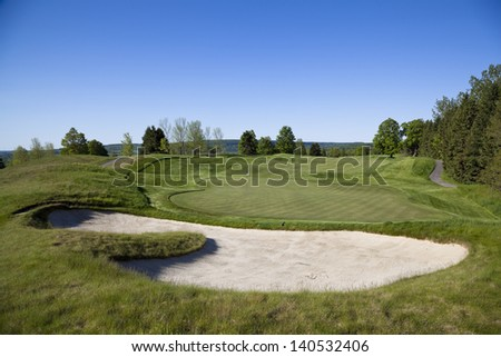 Golf course with sand trap and fairway in Toronto Ontario, Canada