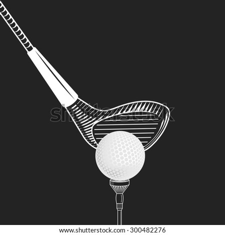 Golf design  illustration. Golf club close up -  on black background.  golf club with ball. Cropped placing golf ball