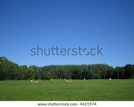 Golf driving range - stock photo
