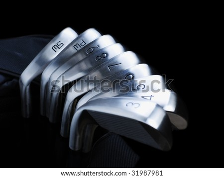 Golf Equipment Isolated on Black - stock photo