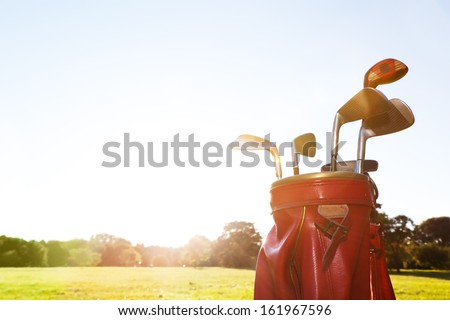Golf equipment. Professional clubs in a leather baggage on golf course at sunny day. - stock photo