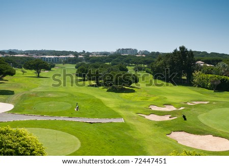 Golf field in Algarve with putting green and sand traps