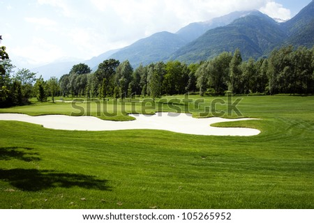 Golf field - landscape view - stock photo
