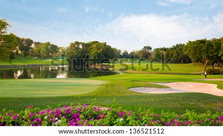 golf field summer landscape - stock photo