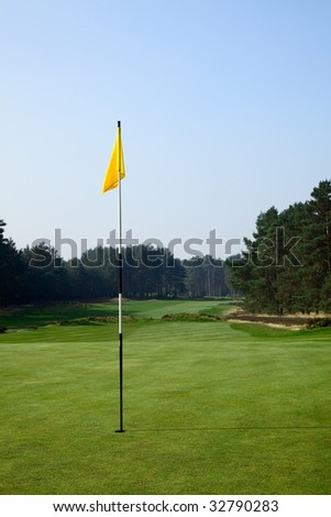 golf field with yellow flag