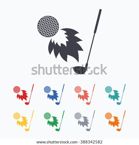 Golf fireball with club sign icon. Sport symbol. Colored flat icons on white background. - stock photo