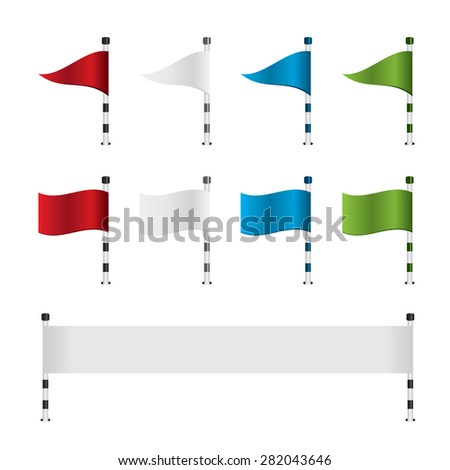 Golf flag and banner set - stock photo