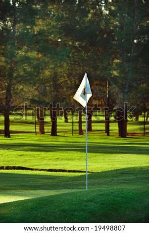 Golf flag on course - stock photo