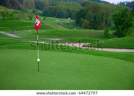 Golf flag on the green grass - stock photo