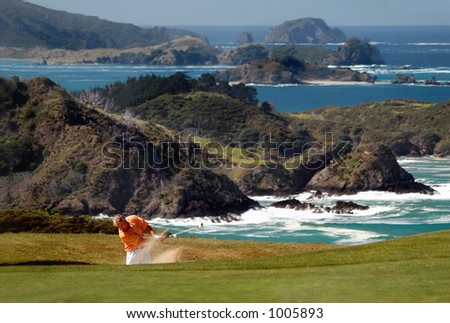 Golf - From the sand trap - stock photo