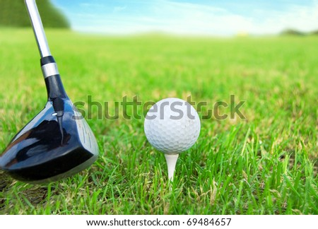 Golf game. Hitting the golf ball with club. - stock photo