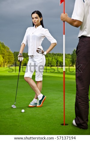 golf-girl - stock photo