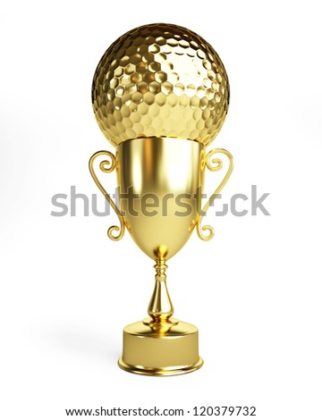 golf gold cup on a white background - stock photo