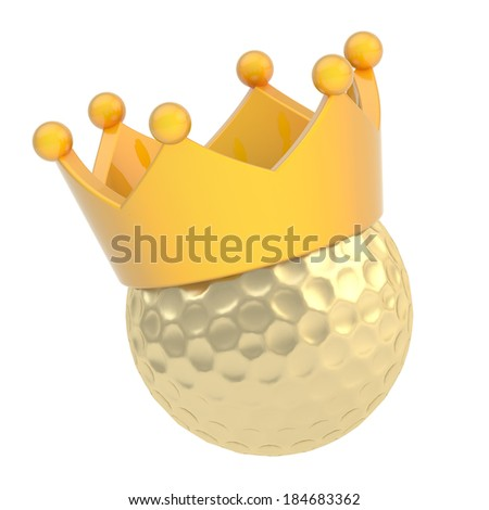 Golf golden ball in the yellow glossy crown isolated over the white background - stock photo