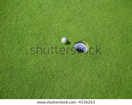 Golf Green and Ball - stock photo