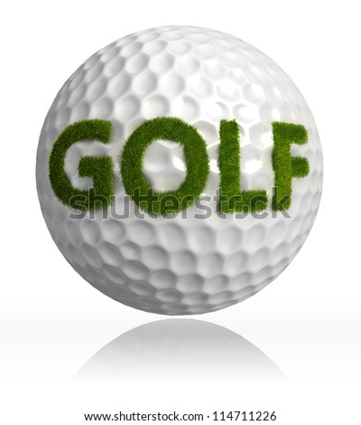golf green grass word on ball on white background. clipping path included - stock photo