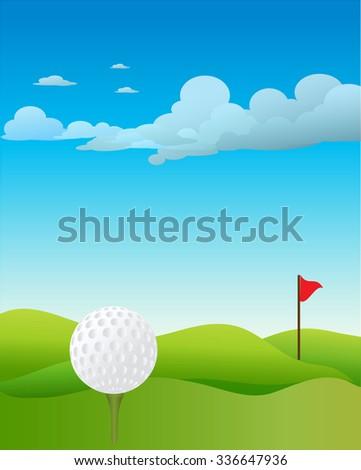 Golf ground background - stock photo