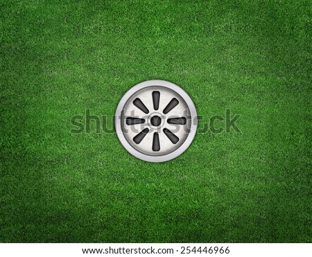 golf hole on a field  - stock photo