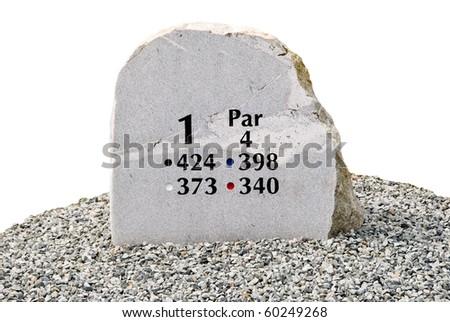 Golf hole sign isolated on white. - stock photo