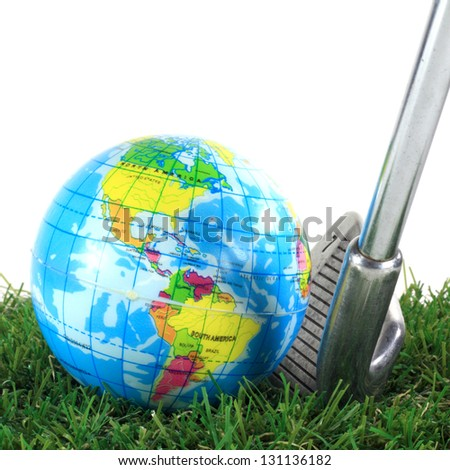 golf iron ready to hit earth ball