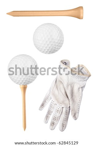 Golf items including ball, tee and glove isolated on white.