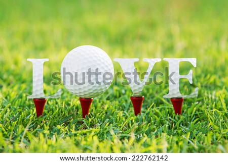 Golf letters word LOVE on green grass. - stock photo