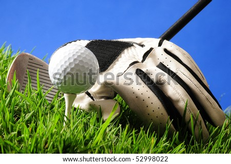 Golf objects. - stock photo