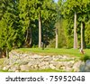 Golf place with gorgeous green and stone terrace view. - stock photo