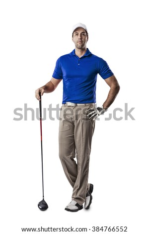 Golf Player in a blue shirt standing on a white Background.