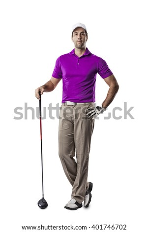 Golf Player in a pink shirt standing on a white Background.